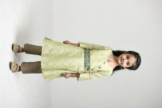 Picture of Mfab9 Chanderi frock style kurti with bottom