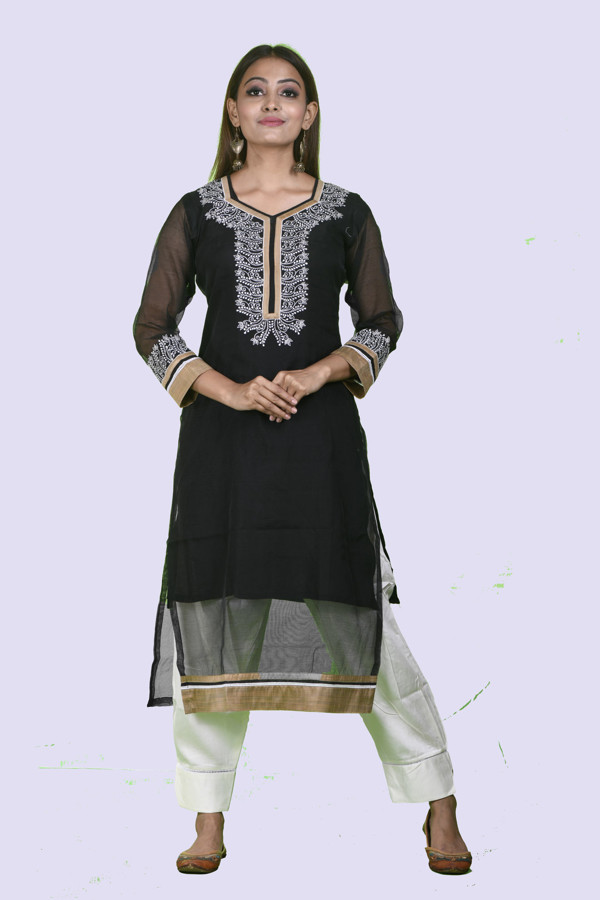 Picture of Madhusha Supernet  kurti with classy  chikan embroidery