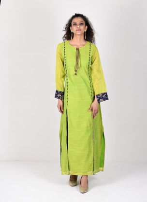 Picture of Mfab9 chanderi kurti with brocade highlight