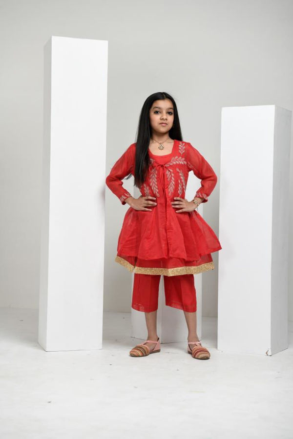 Picture of Mfab9 girl chanderi kurti & bottom set