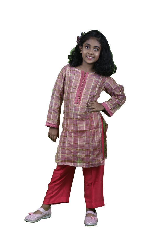 Picture of Mfab9 girls chanderi kurti with bottom