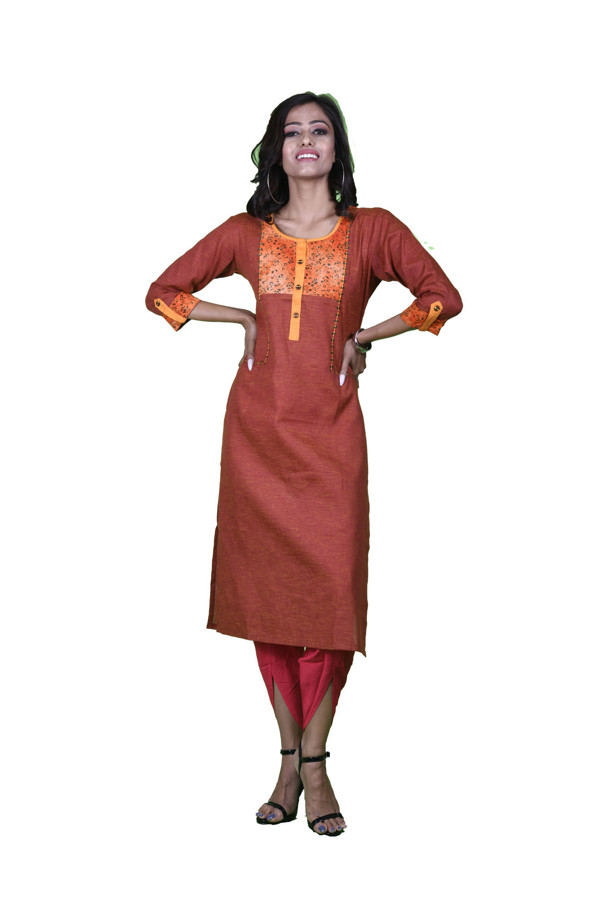 Picture of Madhusha casual cotton kurta with floral neck design