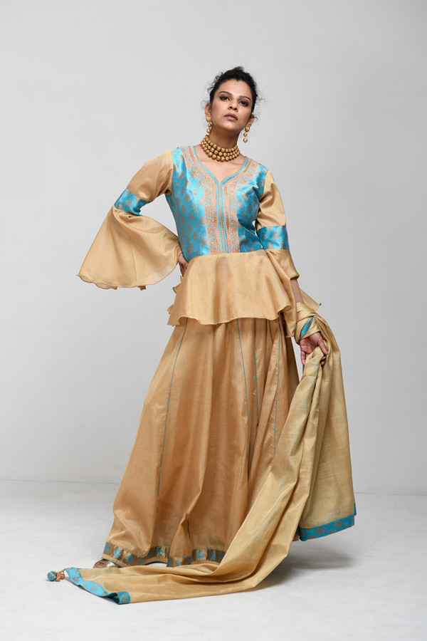Picture of Mfab9 Silk Lehenga top and skirt
