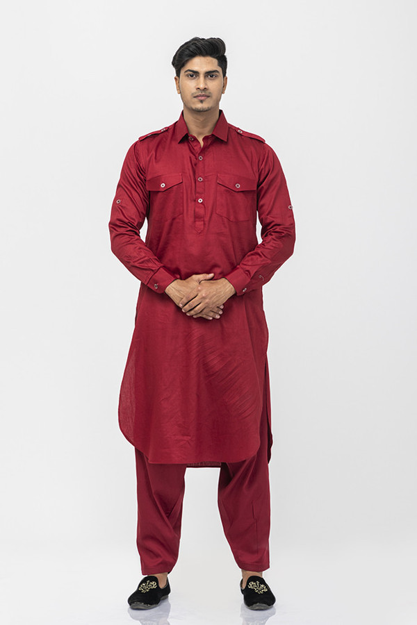Picture of Mfab9 Solid pattern pathani suit